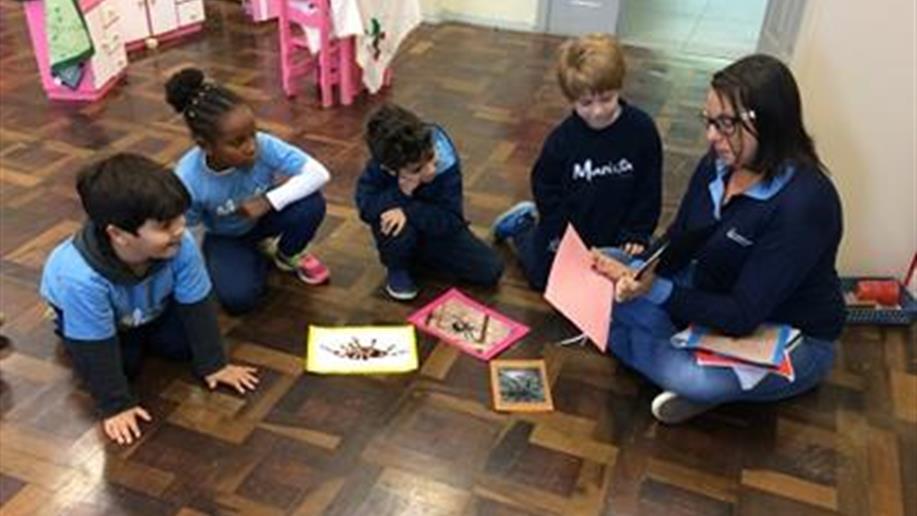 Crianças da Educação Infantil exploram o universo das aranhas em projeto.