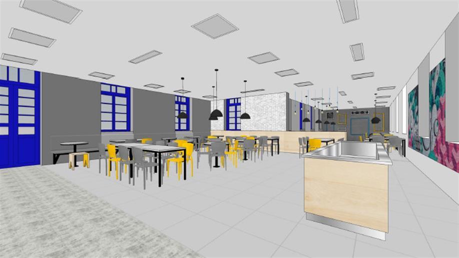 Melhorias na escola - novo espaço da cantina escolar.