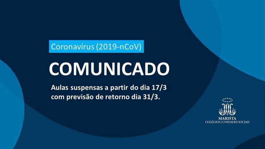 Diante da necessidade de intensificar ações preventivas ao novo coronavírus (2019-nCoV), o Colégio Marista Maria Imaculada suspenderá atividades a partir de 17/3 (terça-feira). O retorno está previsto para 31/3, com possibilidade de prorrogação futura.