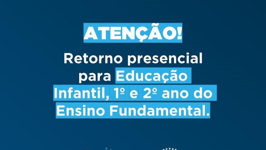 Após liberação do Governo do Estado, retomaremos as aulas presenciais da EI, 1º e 2º ano EF.