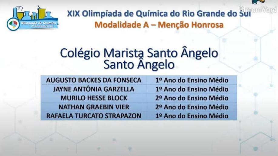 Jayne Garzella ficou entre os 28 estudantes classificados para a próxima fase da competição